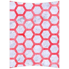 Hexagon2 White Marble & Red Watercolor (r) Back Support Cushion