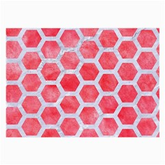 Hexagon2 White Marble & Red Watercolor Large Glasses Cloth (2 Side) by trendistuff