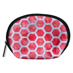 Hexagon2 White Marble & Red Watercolor Accessory Pouches (medium)  by trendistuff