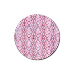 Hexagon1 White Marble & Red Watercolor (r) Rubber Coaster (round)  by trendistuff