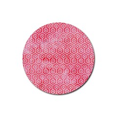 Hexagon1 White Marble & Red Watercolor Rubber Coaster (round)  by trendistuff