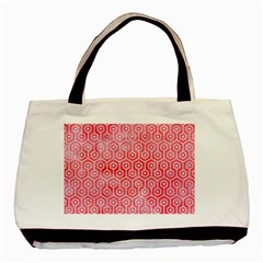 Hexagon1 White Marble & Red Watercolor Basic Tote Bag by trendistuff