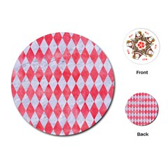 Diamond1 White Marble & Red Watercolor Playing Cards (round)  by trendistuff