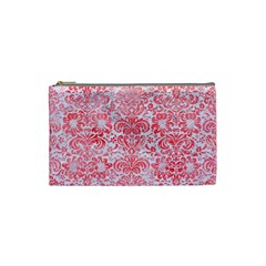 Damask2 White Marble & Red Watercolor (r) Cosmetic Bag (small)  by trendistuff