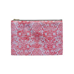 Damask2 White Marble & Red Watercolor (r) Cosmetic Bag (medium)  by trendistuff