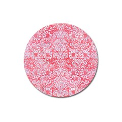 Damask2 White Marble & Red Watercolor Magnet 3  (round) by trendistuff