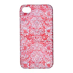 Damask2 White Marble & Red Watercolor Apple Iphone 4/4s Hardshell Case With Stand by trendistuff