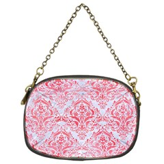Damask1 White Marble & Red Watercolor (r) Chain Purses (two Sides)  by trendistuff