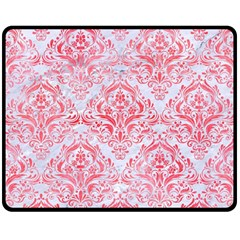Damask1 White Marble & Red Watercolor (r) Double Sided Fleece Blanket (medium)  by trendistuff