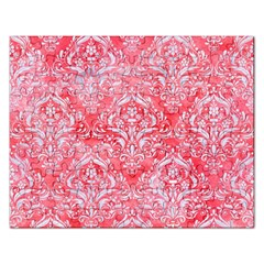 Damask1 White Marble & Red Watercolor Rectangular Jigsaw Puzzl by trendistuff