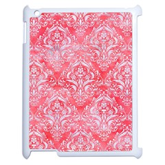 Damask1 White Marble & Red Watercolor Apple Ipad 2 Case (white) by trendistuff
