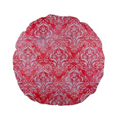 Damask1 White Marble & Red Watercolor Standard 15  Premium Flano Round Cushions by trendistuff