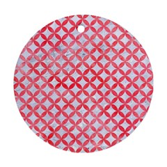 Circles3 White Marble & Red Watercolor (r) Ornament (round) by trendistuff