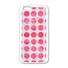 Circles1 White Marble & Red Watercolor (r) Apple Iphone 6/6s White Enamel Case by trendistuff