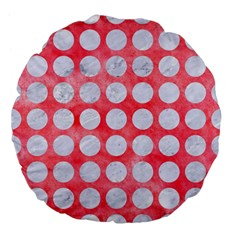 Circles1 White Marble & Red Watercolor Large 18  Premium Flano Round Cushions by trendistuff