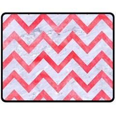 Chevron9 White Marble & Red Watercolor (r) Fleece Blanket (medium)  by trendistuff