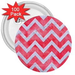 Chevron9 White Marble & Red Watercolor 3  Buttons (100 Pack)  by trendistuff