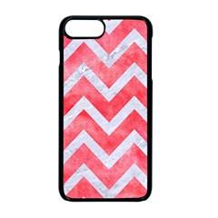 Chevron9 White Marble & Red Watercolor Apple Iphone 8 Plus Seamless Case (black)