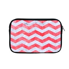 Chevron3 White Marble & Red Watercolor Apple Macbook Pro 13  Zipper Case by trendistuff