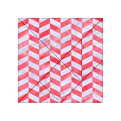 Chevron1 White Marble & Red Watercolor Acrylic Tangram Puzzle (4  X 4 ) by trendistuff