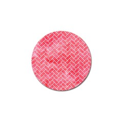 Brick2 White Marble & Red Watercolor Golf Ball Marker by trendistuff