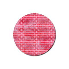 Brick1 White Marble & Red Watercolor Rubber Round Coaster (4 Pack)  by trendistuff