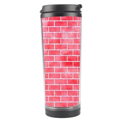 Brick1 White Marble & Red Watercolor Travel Tumbler by trendistuff