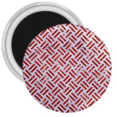 Woven2 White Marble & Red Marble (r) 3  Magnets by trendistuff