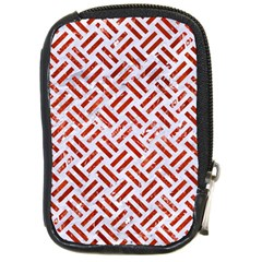 Woven2 White Marble & Red Marble (r) Compact Camera Cases by trendistuff