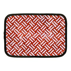 Woven2 White Marble & Red Marble Netbook Case (medium)  by trendistuff