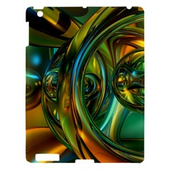 3d Transparent Glass Shapes Mixture Of Dark Yellow Green Glass Mixture Artistic Glassworks Apple Ipad 3/4 Hardshell Case by Sapixe