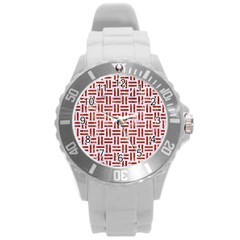 Woven1 White Marble & Red Marble (r) Round Plastic Sport Watch (l) by trendistuff
