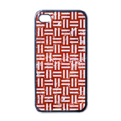 Woven1 White Marble & Red Marble Apple Iphone 4 Case (black) by trendistuff
