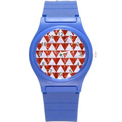 Triangle2 White Marble & Red Marble Round Plastic Sport Watch (s) by trendistuff