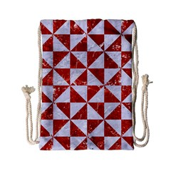 Triangle1 White Marble & Red Marble Drawstring Bag (small) by trendistuff