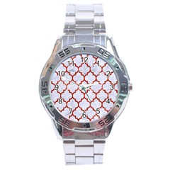 Tile1 White Marble & Red Marble (r) Stainless Steel Analogue Watch by trendistuff