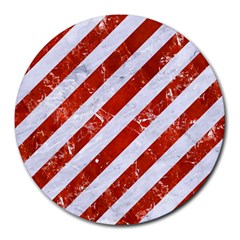 Stripes3 White Marble & Red Marble (r) Round Mousepads