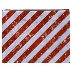 Stripes3 White Marble & Red Marble (r) Cosmetic Bag (xxxl)