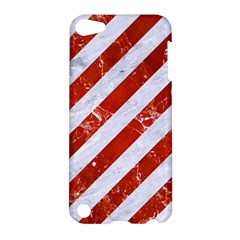Stripes3 White Marble & Red Marble (r) Apple Ipod Touch 5 Hardshell Case by trendistuff