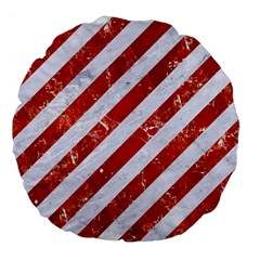 Stripes3 White Marble & Red Marble (r) Large 18  Premium Flano Round Cushions by trendistuff