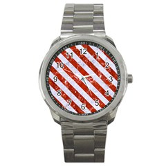 Stripes3 White Marble & Red Marble Sport Metal Watch by trendistuff