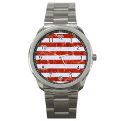 Stripes2white Marble & Red Marble Sport Metal Watch by trendistuff