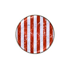 Stripes1 White Marble & Red Marble Hat Clip Ball Marker by trendistuff