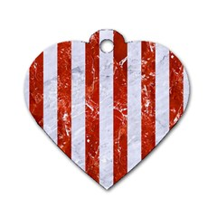 Stripes1 White Marble & Red Marble Dog Tag Heart (two Sides)