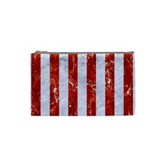 Stripes1 White Marble & Red Marble Cosmetic Bag (small)  by trendistuff
