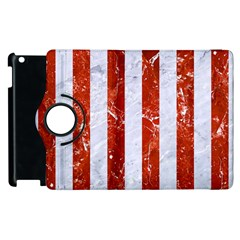 Stripes1 White Marble & Red Marble Apple Ipad 2 Flip 360 Case by trendistuff