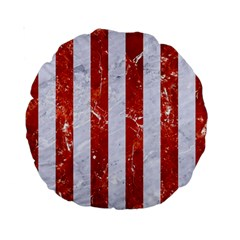 Stripes1 White Marble & Red Marble Standard 15  Premium Round Cushions by trendistuff