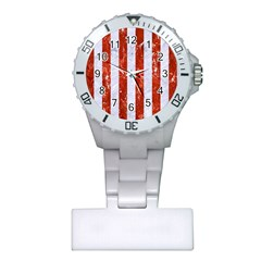 Stripes1 White Marble & Red Marble Plastic Nurses Watch by trendistuff