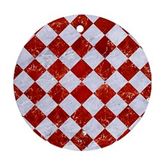 Square2 White Marble & Red Marble Round Ornament (two Sides) by trendistuff