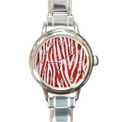 Skin4 White Marble & Red Marble (r) Round Italian Charm Watch by trendistuff